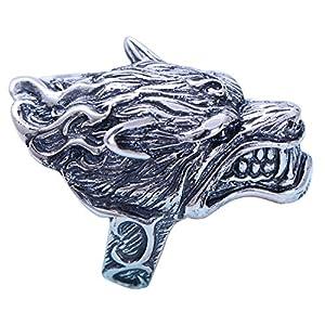 FORFOX Herren Vintage Groß Schwarz 925 Sterling Silber Wolf Kopf Ring Schmuck Größe 58-66