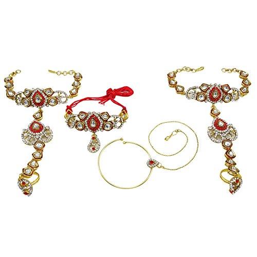 Banithani Concepteur Ton Or Collier De Mariée Bollywood Ethnique Définir Des Ensembles De Bijoux De Mariage blanc-4