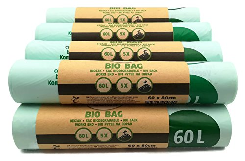 50 pièces Bio sacs poubelle 60L 60x80 cm, EN 13432, 100% compostable et biodégradable, résistant à la déchirure et à l'humidité, sac organique 60L