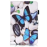 Skytar Hülle für Tab A6 10 Zoll,Samsung Tab A T580 Tasche,PU Leder Schutzhülle Brieftasche Hülle Stand Folio Cover Case für Samsung Galaxy Tab A 10.1 Zoll (2016) SM-T580N / SM-T585N Tablet,Blauer Schmetterling
