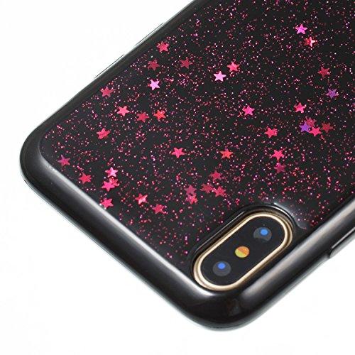 Coque iPhone X, Camiter argent design cardiaque Protection Dorsale Etui Slim Housse Cover Premium TPU Case Pour Apple iPhone X + Chiffon de nettoyage gratuit Etoile à cinq pointes Rose