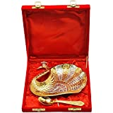 Handicraft Hub India Brass Small Duck Shape Tray Silver And Gold