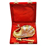 #6: Odna Bichona Attractive Gift Silver And Gold Plated Brass Small Duck Shape Tray (18.415X17.78X3.175, Silver And Gold)