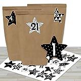 DIY Adventskalender zum Befüllen - mit 24 braunen Papiertüten und 24 schwarz-weißen Aufklebern - zum Selbermachen und Basteln - Mini Set Nr 40 - Weihnachten 2019 für Kinder