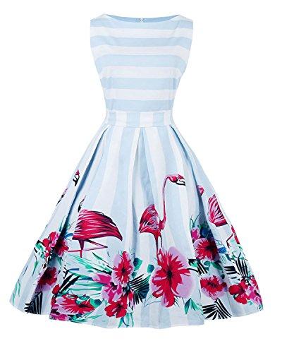 ZAFUL Damen Retro Elegante Cocktailkeider 50er Jahre Hepburn Ärmellos Abendkleid Swing Kleider (M, Blau Flamingo) (Damen Flamingo)
