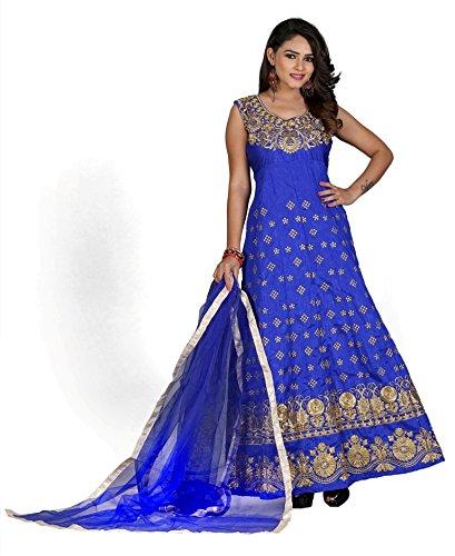 Edeal Online Blue Banglori Silk Anarkali Dress (BLUE SARTAJ)
