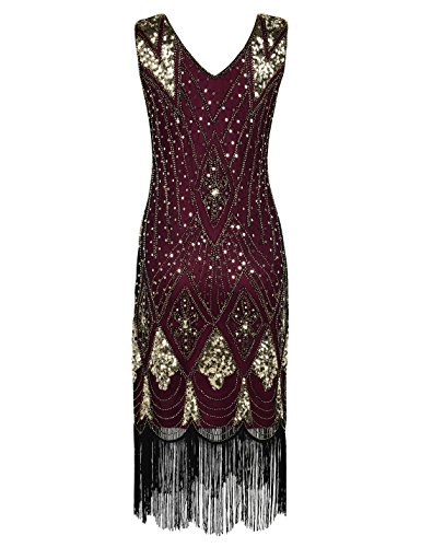 Prettyguide donne Gatsby cocktail Sequin Art Deco flapper Dress Gold With Burgundy