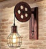 Wandleuchte E27 Retro Iron Wandlampe Antik Industrial lampe Innen Landhausstil Wand Lampe (Bronze)