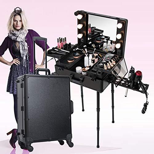 QIONGQIONG Tragbare Kosmetik Make-up Box Zug Fall Schönheit Reise Box Künstler Barber Reise Rollwagen Organizer Box Mit Spiegel Mit Licht/Unterstützung/Spiegel,Black