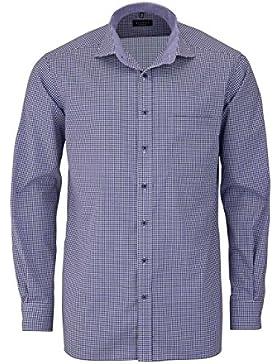 ETERNA Comfort Fit Hemd extra langer Arm Karo lila AL 68
