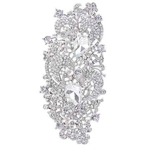 Flyonce Strass Kristall 4,1 Zoll Royal Flower Pattern Hochzeit Brosche klar Silber-Ton (Strass Kristall Brosche)