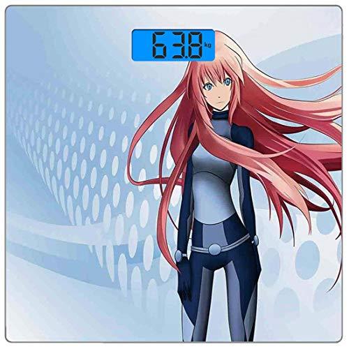 Digitale Präzisionswaage für das Körpergewicht Platz Anime Ultra dünne ausgeglichenes Glas-Badezimmerwaage-genaue Gewichts-Maße,Futuristische Manga Girl Science-Fiction-Doodle-Effekt im japanischen St