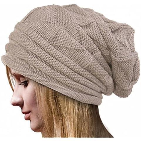 Xinantime Cappello Crochet Knit Beanie Inverno Caldo Colore Beige