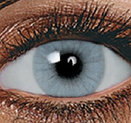 Farbige Kontaktlinsen 3 - Monatslinsen GRAU ohne Stärke BESONDERS NATÜRLICH (Kontaktlinsen Farbe)