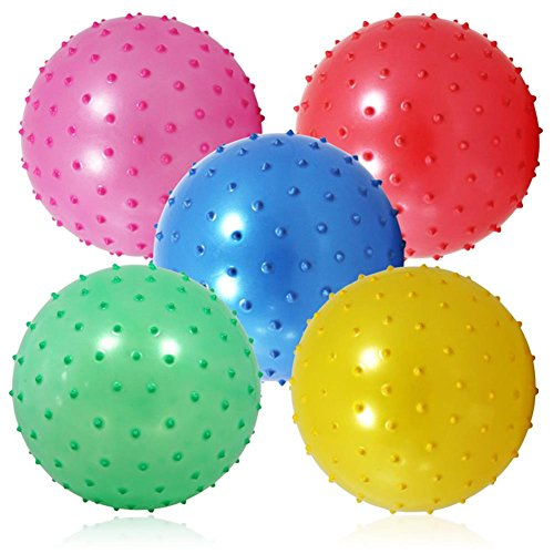 6 Stück Noppen Aufblasbälle 16 cm, toll als Fussball, Wasserball, Wurfball, Spielball