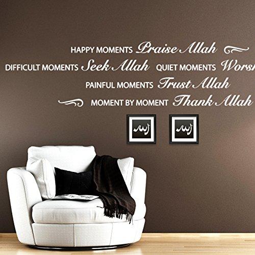 Wandaro W3276 Wandtattoo Spruch Happy Moments Allah Gold (BxH) 110 x 23 cm