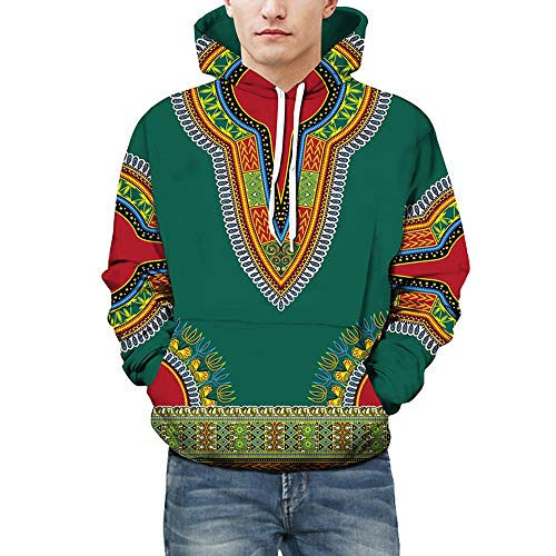 Armani Grünen T-shirt (Strungten Herbst Winter Afrikanischen 3D Print Langarm Dashiki Hoodies Sweatshirt Pullover Pulli Mit Rundhalsausschnitt Männer Print mit Kapuze Langarm Herren Kapuzenpullover Hoodie Kapuze Top)