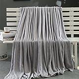 Ouneed® Kuscheldecken , 70*100cm Kinder Super Soft Warm Solid Warm Micro Plüsch Fleece Decke Wurf Teppich Sofa Bettwäsche (Grau)