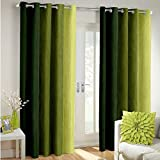 Super India Long Crush Solid 2 Piece Polyester Door Curtain Set - 7ft, Green