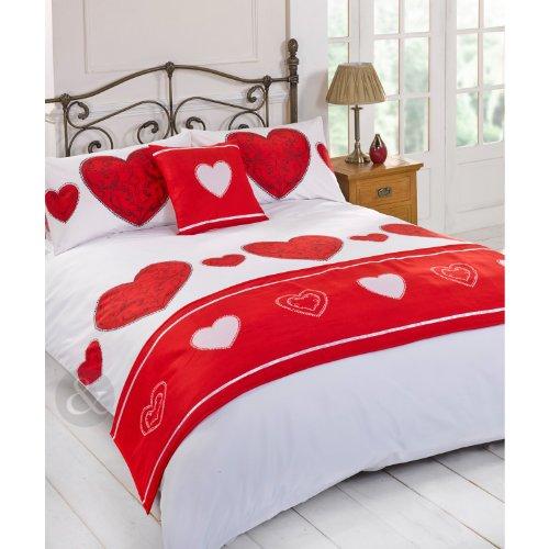 Just Contempo - Set copripiumino con trapunta copriletto vintage, motivo cuore, Poliestere, rosso (nero/bianco), copripiumino singolo (da ragazza)