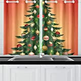 JOCHUAN Albero di Natale Carta Poster Banner Cucina Tende per finestre Tenda per Tenda per caffè, Bagno, Lavanderia, Soggiorno Camera 26 x 39 Pollici 2 Pezzi