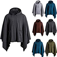 UJUNAOR Fashion Mens Irregular Patchwork Loose Bat Sleeves Hooded Poncho Cape Coat