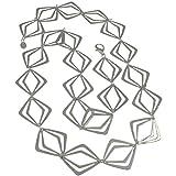 Charakteristische einzigartige Kostüm Schmuck versilbert Groß Abstrakt Form Link Lang Halskette