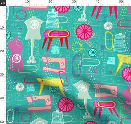 Mannequin, Nähmaschine, 1950Er Jahre, Naht, Rosette, Nähen, Kurzwaren Stoffe - Individuell Bedruckt von Spoonflower - Design von Slumbermonkey Gedruckt auf Sport Lycra - Nähmaschine Für Lycra