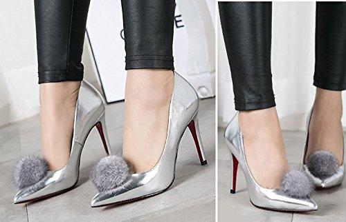Lady hauts talons au printemps/Asakuchi lapin mode de chaussures talons pointes argent A