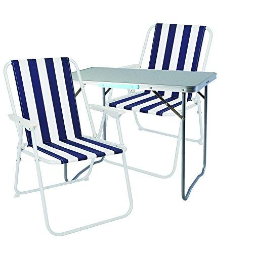 Mojawo ® 3tlg. Campingmöbel Set Alu Camping L70xB50xH59cm 1x Campingtisch mit Tragegriff + 2 Campingstühle Blau-Weiß Gestreift