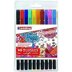 Edding 4–1340–10–2Brush Pen–Rotuladores con punta tipo pincel variable–Ideal para mano Lettering, zendoodle, creativo pintar, 10unidades