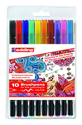 edding 4-1340-10-2 Brush Pen - Fasermaler mit variabler Pinselspitze - Ideal für Handlettering, Zendoodle, kreatives Malen, 10er Set