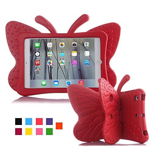 iPad Fall, kids-use 3D Cartoon Schmetterling ungiftig Licht EVA iPad mini Schutzhülle mit Ständer Ständer kindersichere stoßfest Schutzhülle für iPad 2/iPad 3/iPad 4Schutzhülle für Mädchen rot (Ipad 2 Für Cartoon-fälle Mini)