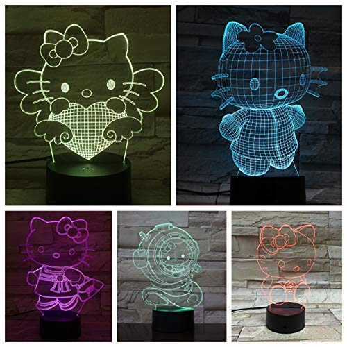 Schreibtischlampe nacht Hello Kitty Cartoon Lampara 3D Illusion Kinder Kinder Geschenk Dekorative Lichter Tier Katze Nachtlicht LED Dekor A-1772 (Hello Kitty-geschenke Für Kinder)
