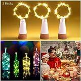 LED Flaschenlicht, Ifecco USB Power Korken Licht Sternenhimmel Weinflaschen Lampe für Küche, Hochzeit, Halloween, Weihnachten, Partei Dekor (warmes weiß, 3 Stück)