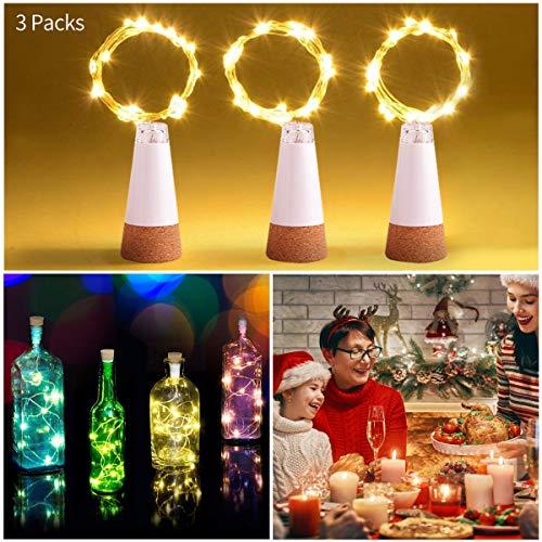fecco USB Power Korken Licht Sternenhimmel Weinflaschen Lampe für Küche, Hochzeit, Halloween, Weihnachten, Partei Dekor (warmes weiß, 3 Stück) ()