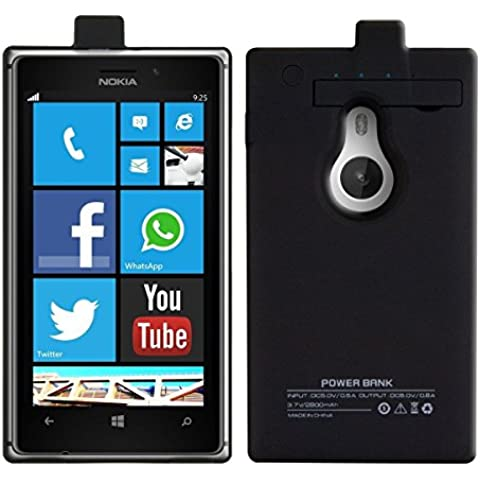 Ultra ® negro 2800 mAh de energía carga tapa caja batería protector cargador funda para Nokia Lumia 925 incluye pata de cabra