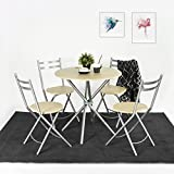 Innovareds Home Einfache, Stilvolle Esstisch und 4Klappstühle Set 5x Kreuz Küche Esszimmer Tisch Stühle platzsparend Buche