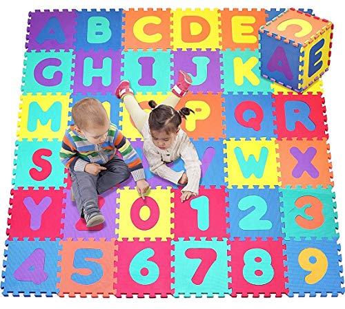 Sxfcool 36-teilige alphanumerische Kinder-Puzzle-Blase Eva-Puzzle-Matte Kinder-Schaum-Puzzle-Boden-Game-Pad mit Form, Farbe oder Zahlen und Buchstaben