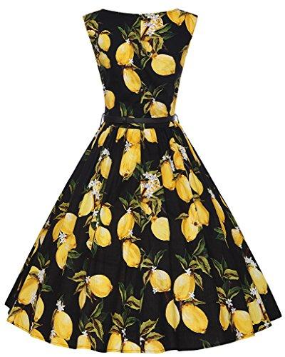 Eudolah Robe patineuse vintage à motif style des années 50 sans manches avec ceinture soirée festival Femme Citron Noir