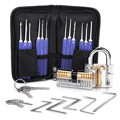 Lockpicking Lockpick Set Professionelles 19-teiliges Dietrich Set mit 2 Transparentem Trainingsschlössern für Schlosserei Anfänger und Profisrleicht von LOETAD -
