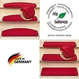 Kettelservice-Metzker® Stufenmatten Vorwerk Uni Einzeln und Sparset's Rot 15 Stück Halbrund