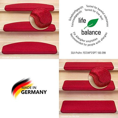 Kettelservice-Metzker® Stufenmatten Vorwerk Uni Einzeln und Sparset's Rot 1 Stück Halbrund