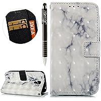 Galaxy S4 Hülle,Galaxy S4 Ledertasche Handyhülle Brieftasche im BookStyle,SainCat Retro 3D Marmor Muster PU Leder... preisvergleich bei billige-tabletten.eu