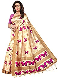 Saree Mall Women's Art SIlk Saree With Blouse (Off-White_APHA1011_Free Size)