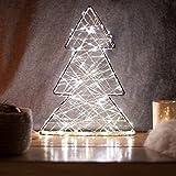 SnowEra LED Dekorationsleuchte / Weihnachtsbeleuchtung aus Metall in Silber mit 140 Micro LED´s | Lichtfarbe: warm weiß|Form: Baum