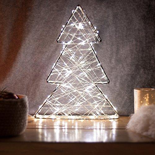 SnowEra - Décoration lumineuse / Illumination de Noël en Métal avec 140 micro-LED - Couleur LED : Blanc chaud - Forme : Arbre en métal argenté