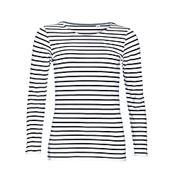 Sols Damen Marine T-Shirt, gestreift, langärmlig (S) (Weiß/Marineblau)