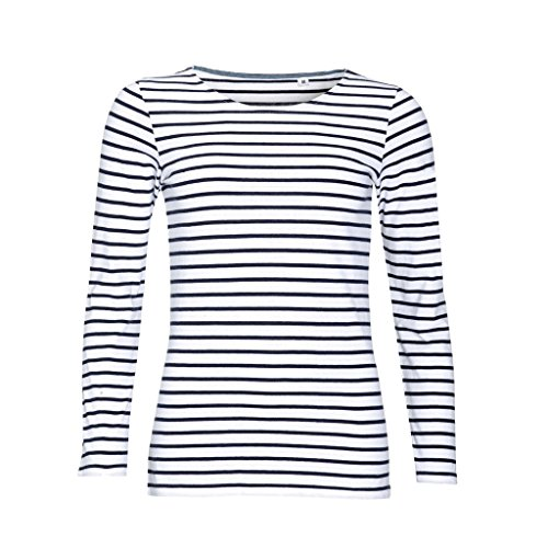 SOLS Womens/Ladies Marine Long Sleeve Stripe T-Shirt (L) (White/Navy)