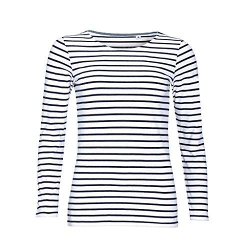 SOLS Damen Marine T-Shirt, gestreift, langärmlig (L) (Weiß/Marineblau) (Marine-blau-damen Shirt)